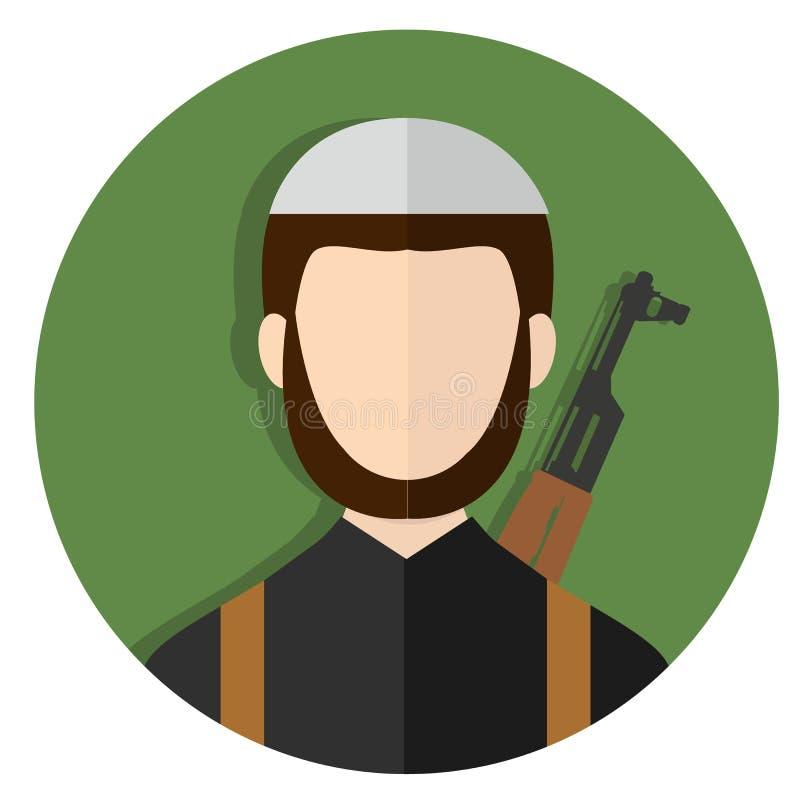 Terrorist islamisk extremist med Kalashnikovgeväret stock illustrationer