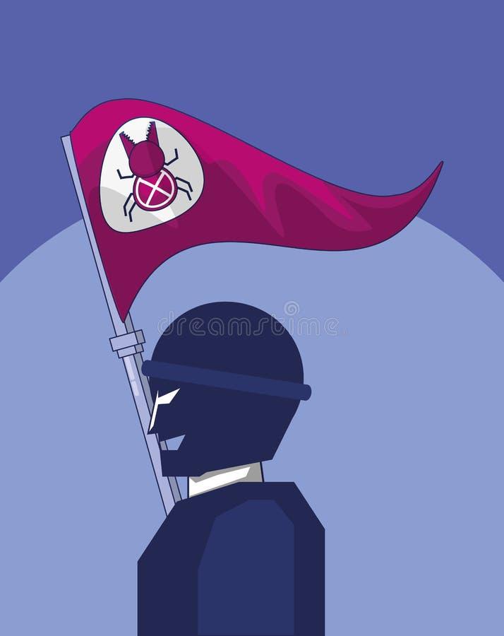 Terrorist med atack för flaggafelcyber vektor illustrationer