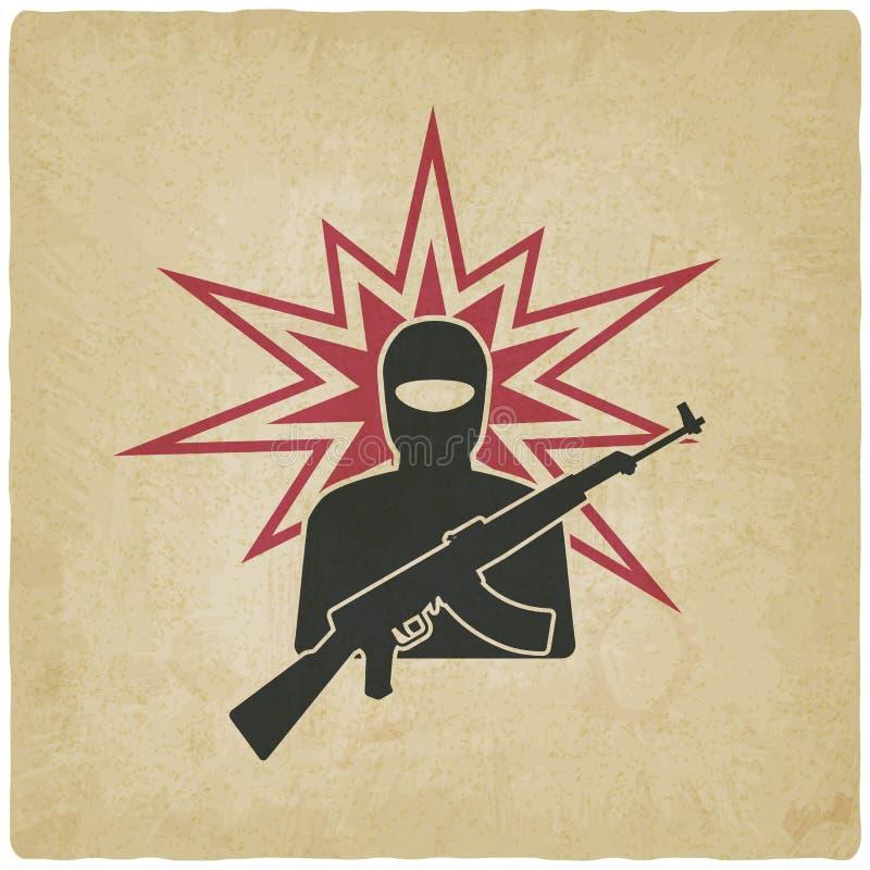 Terrorist med gammal bakgrund för vapen stock illustrationer