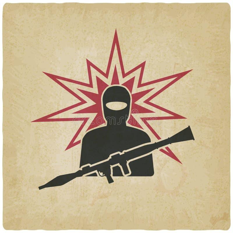 Terrorist med granatlauncheren stock illustrationer