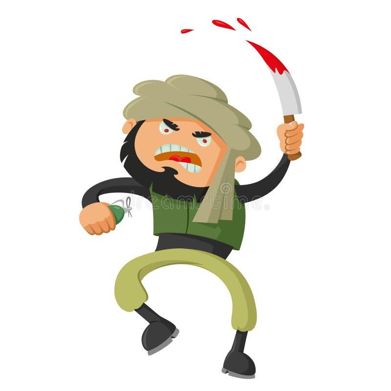 Terrorist med kniven vektor illustrationer
