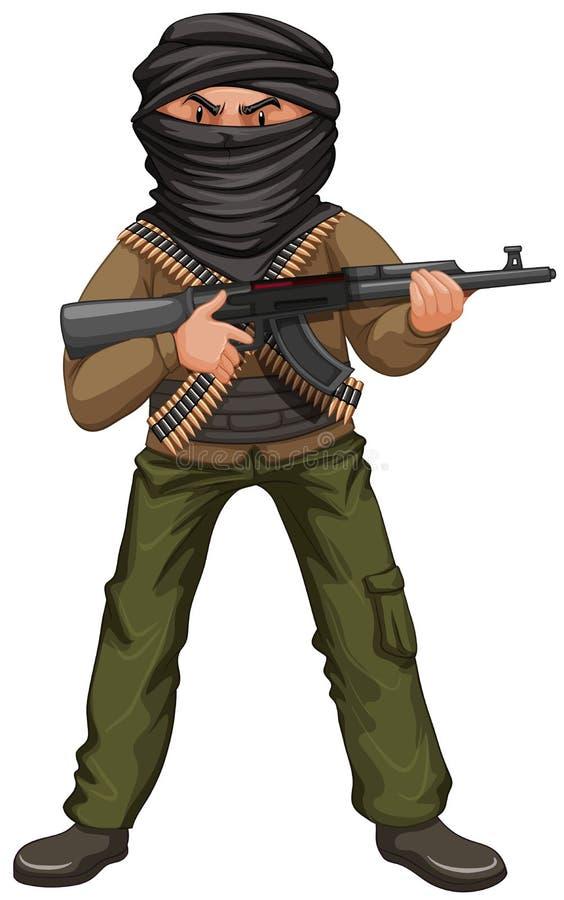 Terrorist med maskeringen och vapnet stock illustrationer