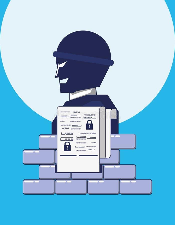 Terrorist med väggavskildhetsdata stock illustrationer
