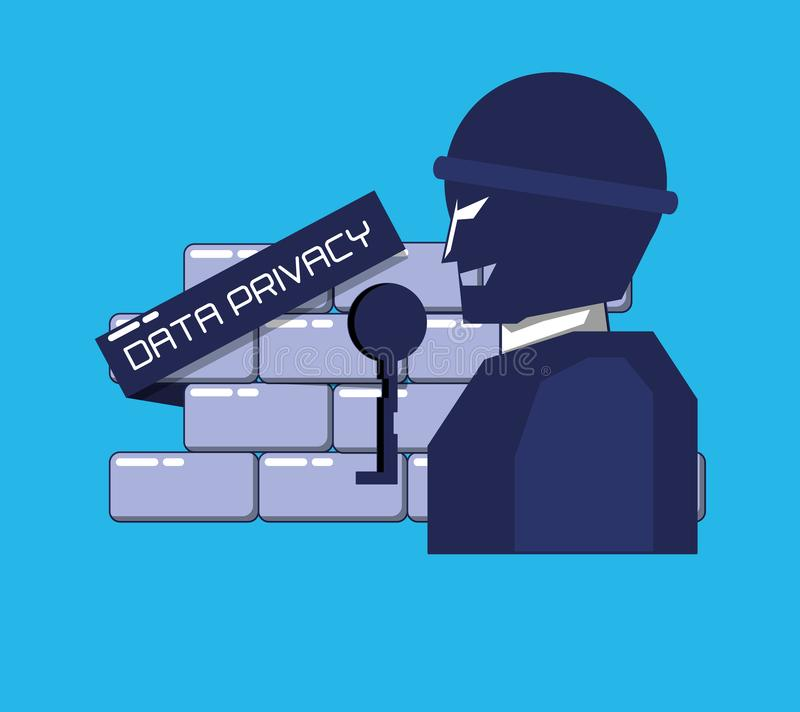 Terrorist med väggavskildhetsdata vektor illustrationer