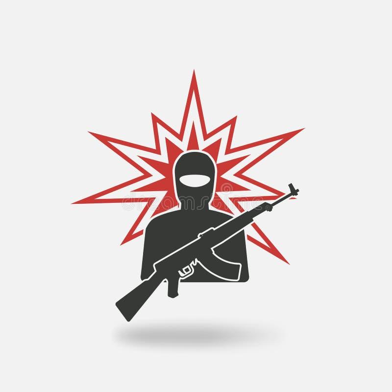 Terrorist med vapnet royaltyfri illustrationer