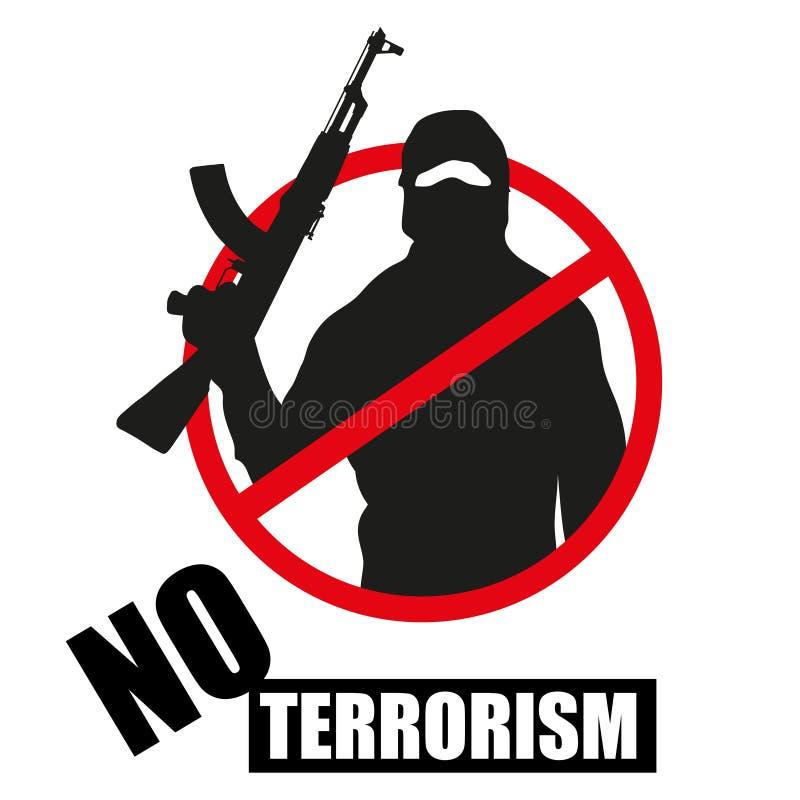 Terrorist med vapnet Stoppa terrorism royaltyfri illustrationer