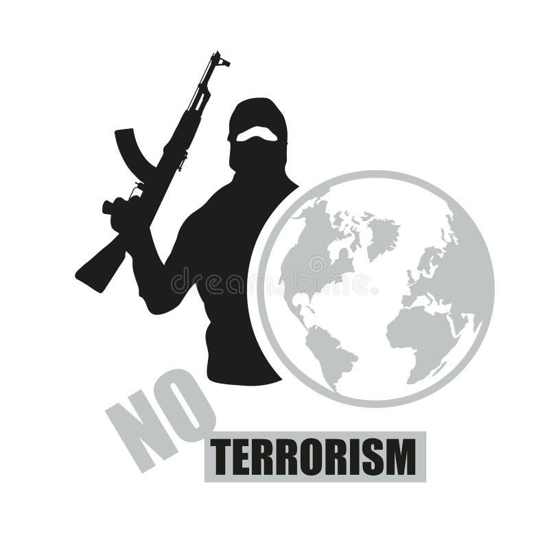Terrorist med vapnet Stoppa terrorism Terrorismbegrepp stock illustrationer