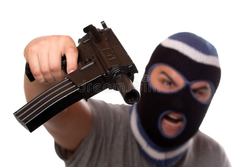 Download Terrorist Pointing An Automatic Weapon Stock Image - Image: 21979615