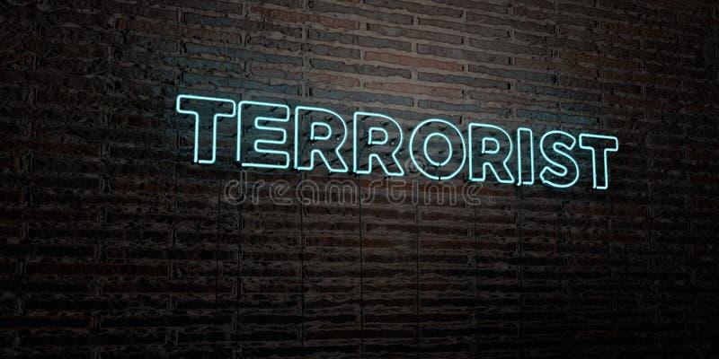 TERRORIST - realistiskt neontecken på bakgrund för tegelstenvägg - 3D framförd fri materielbild för royalty vektor illustrationer