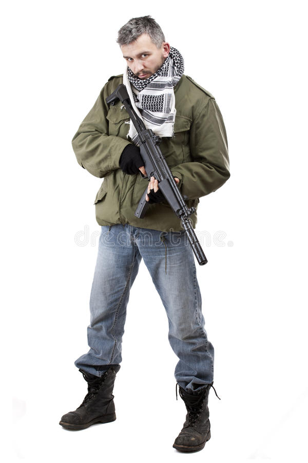 Terrorist with rifle royalty free stock image