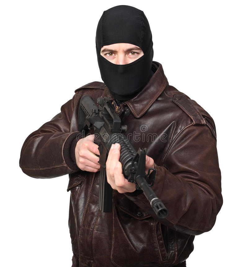 Download Terrorist with rifle stock image. Image of isolated, thief - 24151781