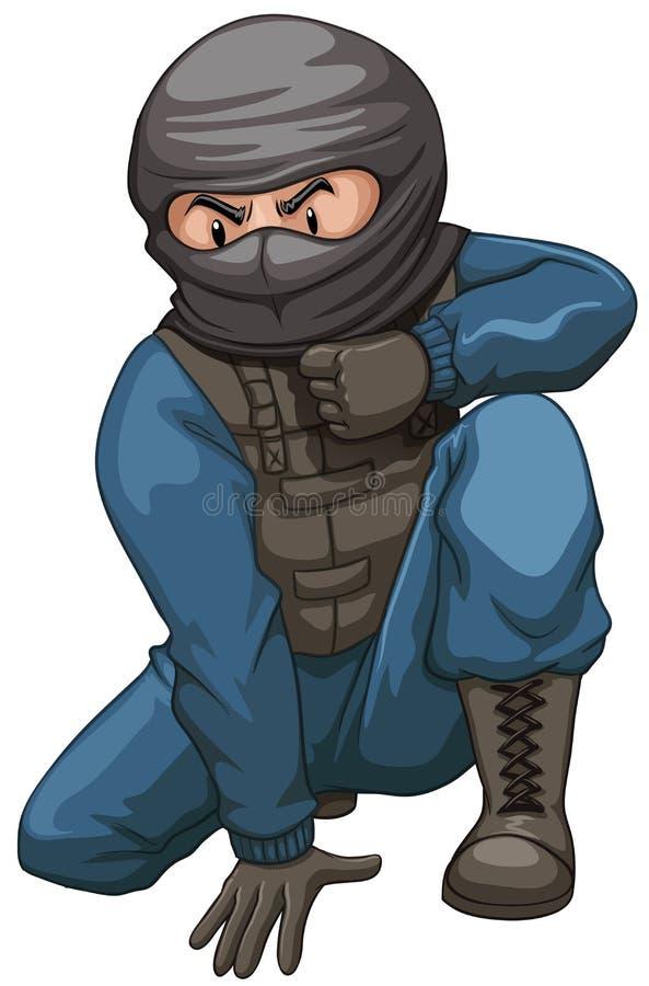 Terrorist som bär den svarta maskeringen stock illustrationer