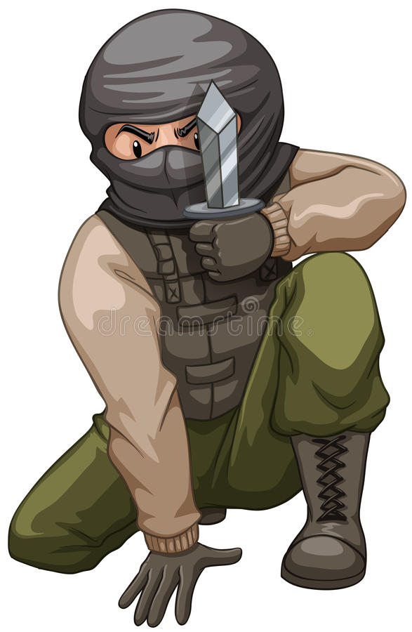Terrorist som bär en fick- kniv royaltyfri illustrationer