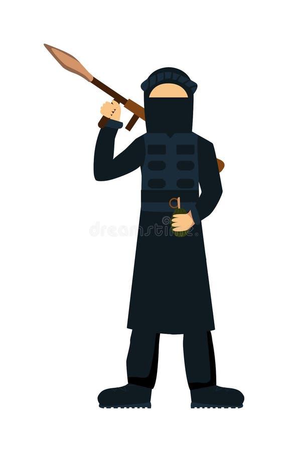 Terrorist som isoleras på vit bakgrund vektor illustrationer