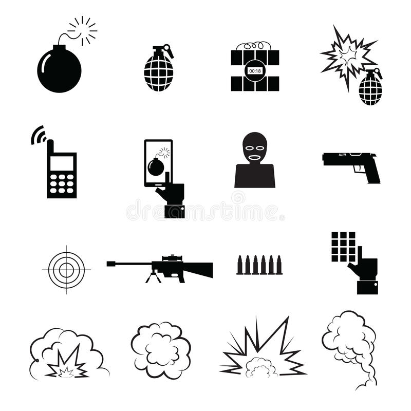 Terrorist and spy icons set stock illustration