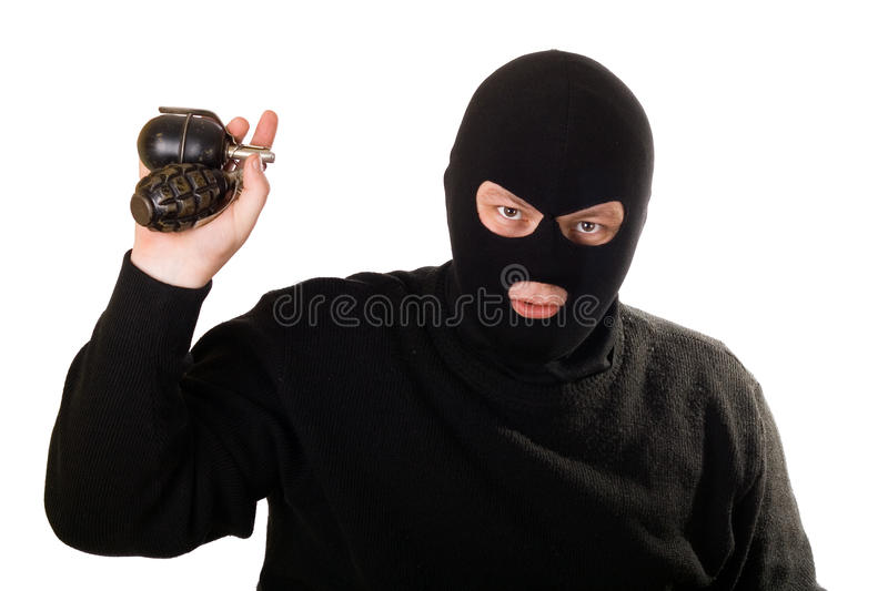 Terrorist With Two Grenades Isolated. Stock Photo