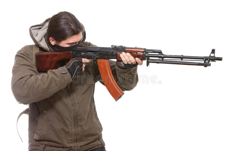 Terrorist with weapon royalty free stock photos