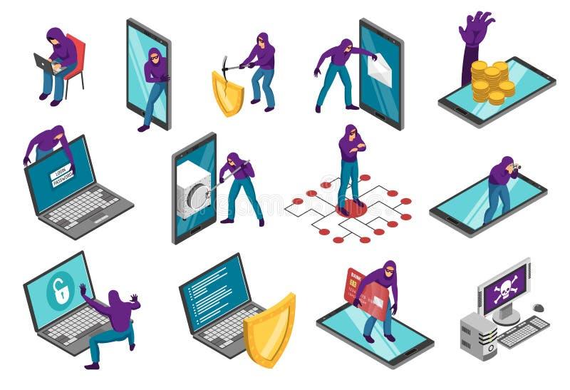 Terrorista cyber Isometric Set royalty illustrazione gratis