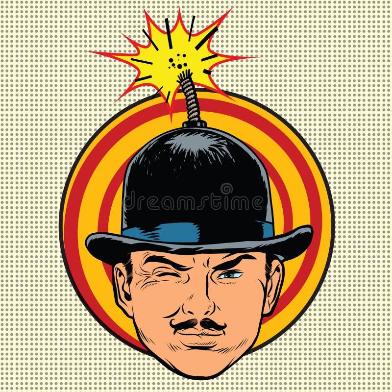 Terrorista del espía en la mecha de la bomba del sombrero ilustración del vector