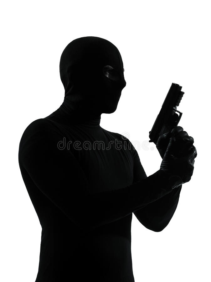 Terrorista do criminoso do ladrão imagem de stock