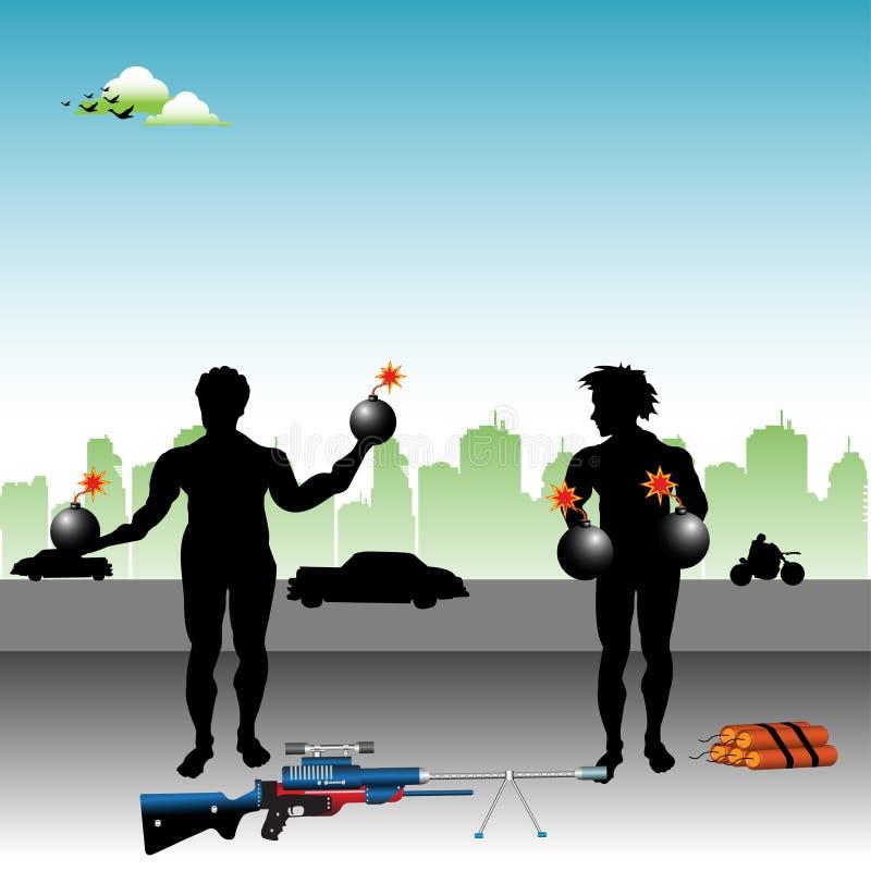Terroristas ilustração do vetor