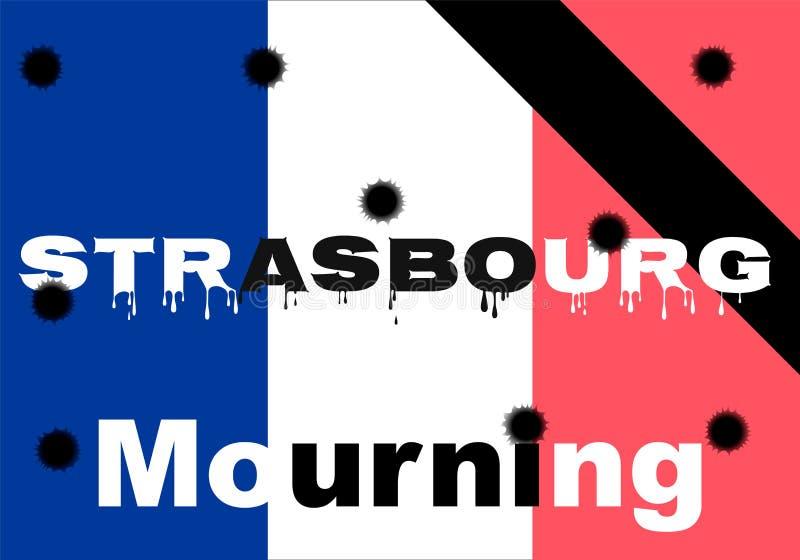 Terroristhandlingen av Oktober 11, 2018 i Strasbourg Frankrike Skytte som sörjer för dödaen, terrorist, kulhål royaltyfri illustrationer