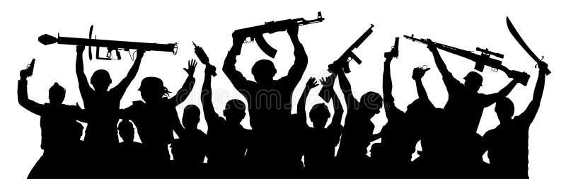 Terroristi muniti Folla della gente militare con le armi Paintball di fucilazione del airsoft del gioco Siluetta militare dei sol royalty illustrazione gratis