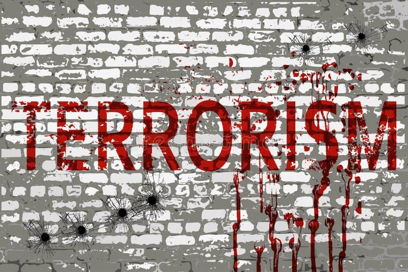 Terroryzm inskrypcja na ścianie ilustracji