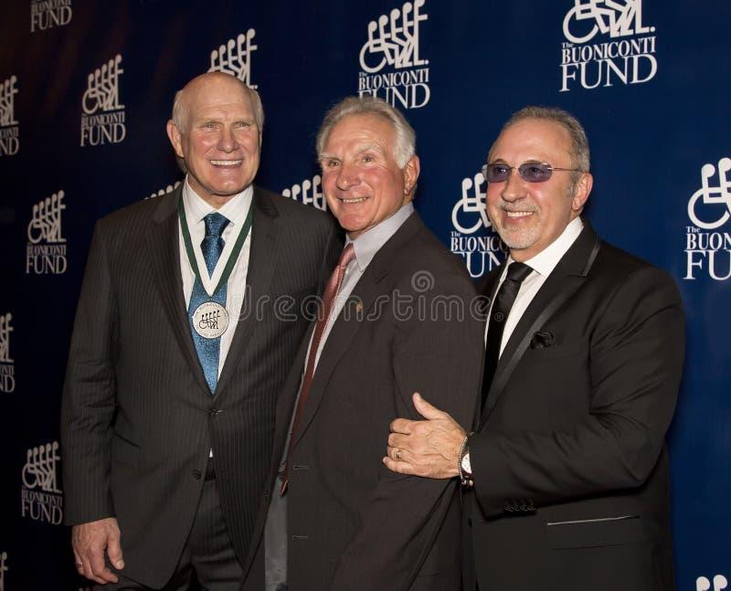 Terry Bradshaw, Nick Buoniconti, y Emilio Estefan imagen de archivo libre de regalías