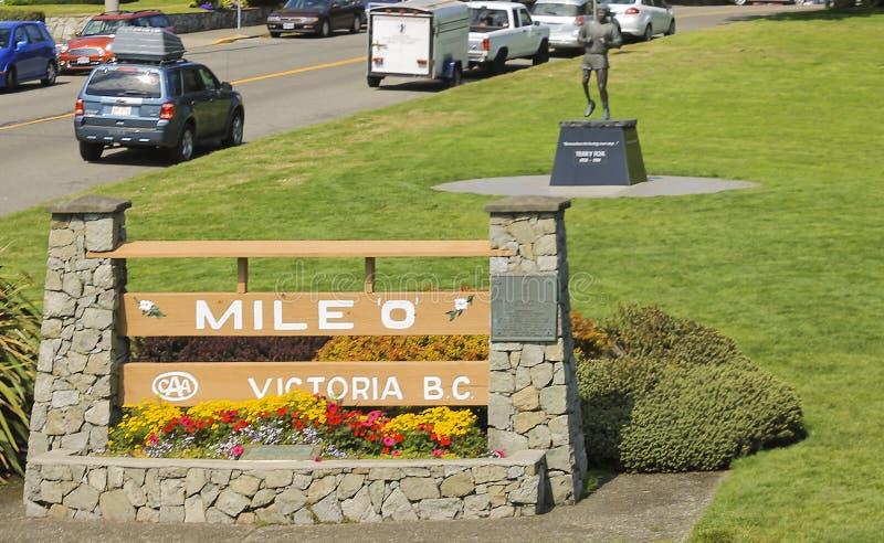 Terry Fox-standbeeld bij Mijl 0 monument in Victoria Canada stock fotografie