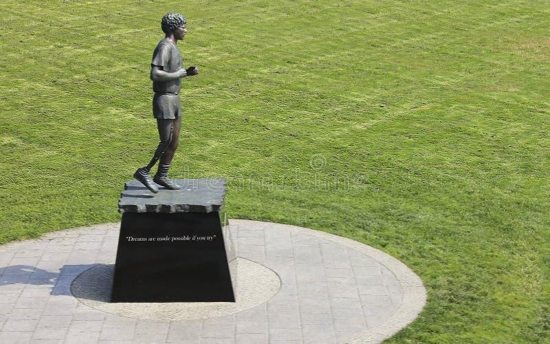 Terry Fox-standbeeld bij Mijl 0 Park in Victoria Canada stock foto's