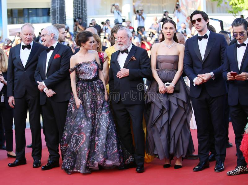 Terry Gilliam, Stellan Skarsgard, Olga Kurylenko, Adam Driver fotos de stock royalty free