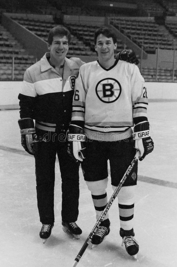 Terry O'Reilly and Mike Milbury, Boston Bruins. Boston Bruins stars Terry O'Reilly and Mike Milbury (26). (Image taken from B&W negative stock photo