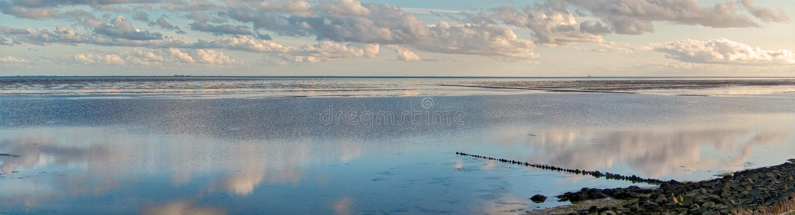 Terschelling panoramic view on Harlingen, Friesland, Netherlands royalty free stock photos