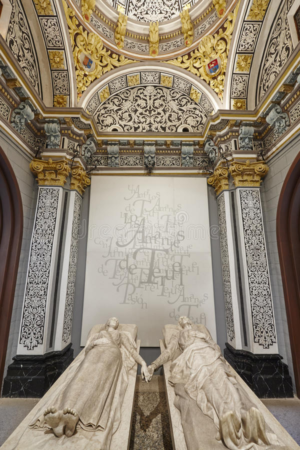 Teruel minnaarsmausoleum Spaanse erfenis De kerk van San Pedro eur royalty-vrije stock foto's