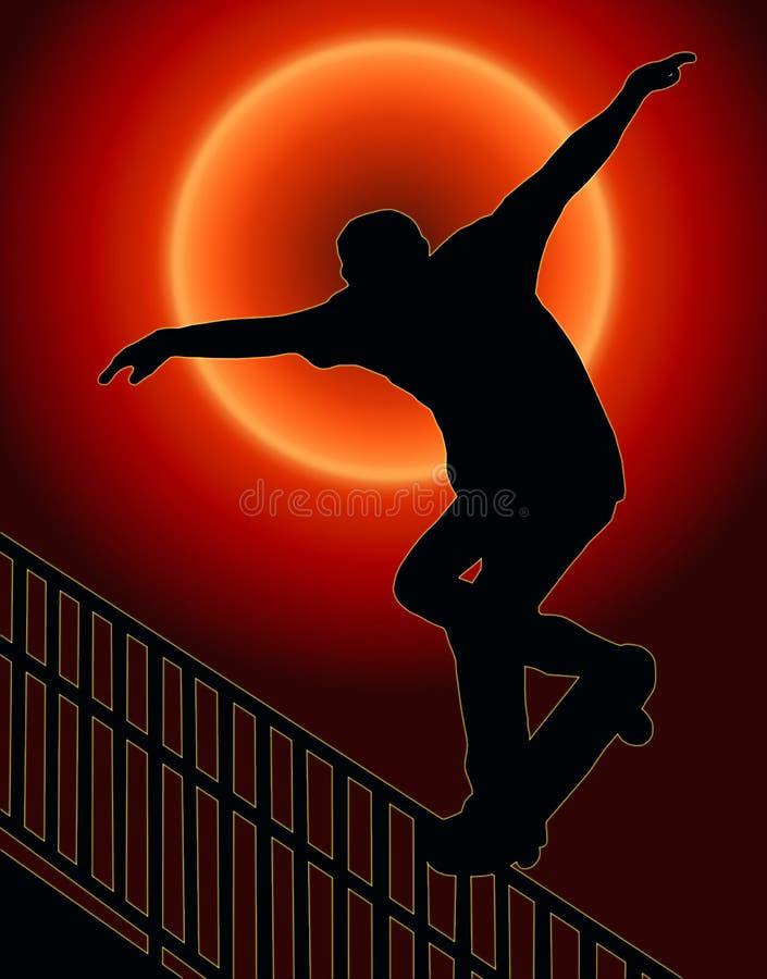 Terug met een skateboard rijdend de Zonsondergang van het Spoor Nosegrind royalty-vrije illustratie