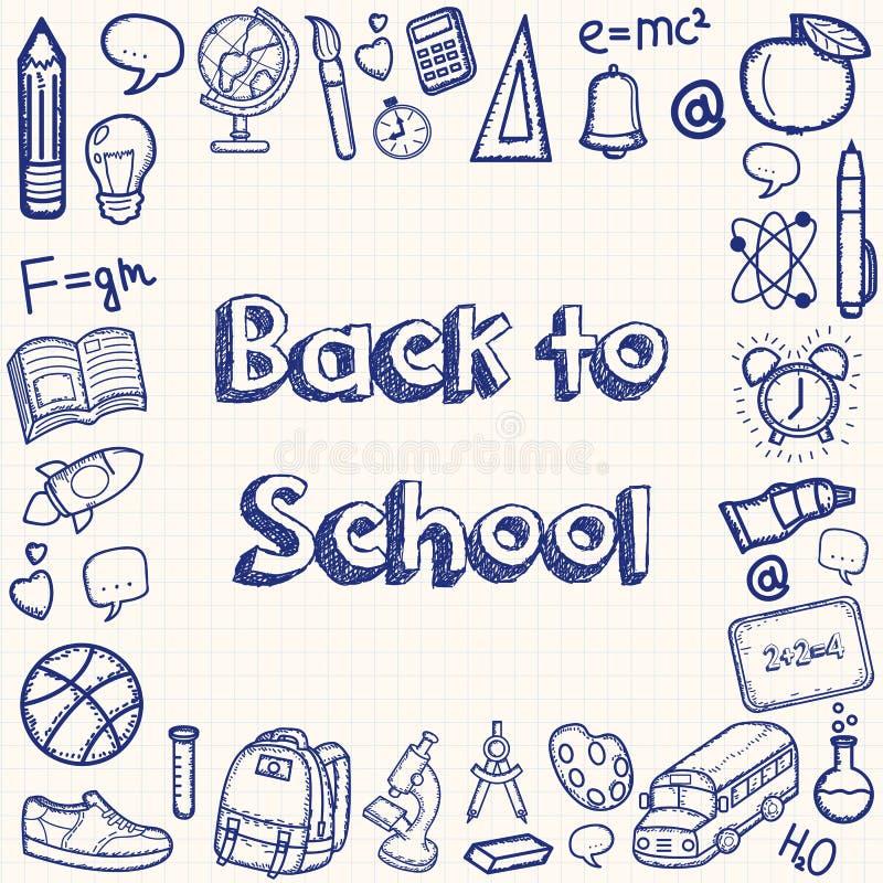 Terug naar achtergrond van school de hand getrokken krabbels Het concept van het onderwijs Hand getrokken schoollevering Vector vector illustratie