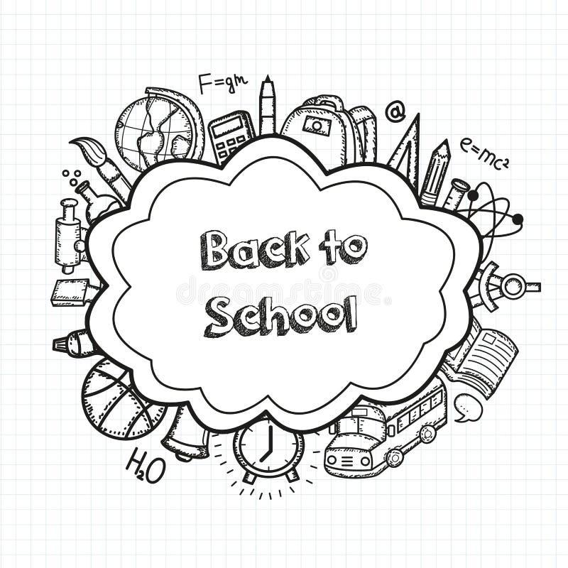 Terug naar achtergrond van school de hand getrokken krabbels Het concept van het onderwijs Hand getrokken schoollevering Vector royalty-vrije illustratie