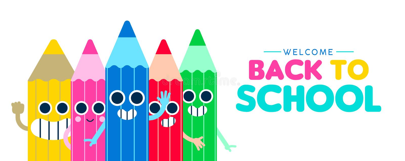 Terug naar banner van het het beeldverhaalweb van het school de gelukkige potlood stock illustratie