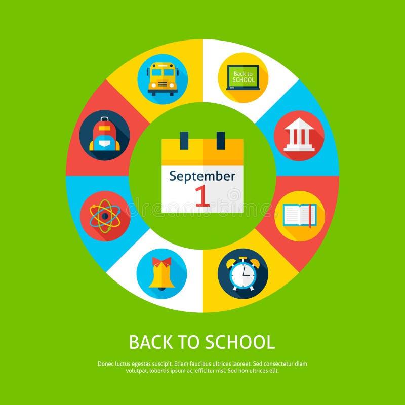 Terug naar Concept van School het Vlakke Infographic royalty-vrije illustratie