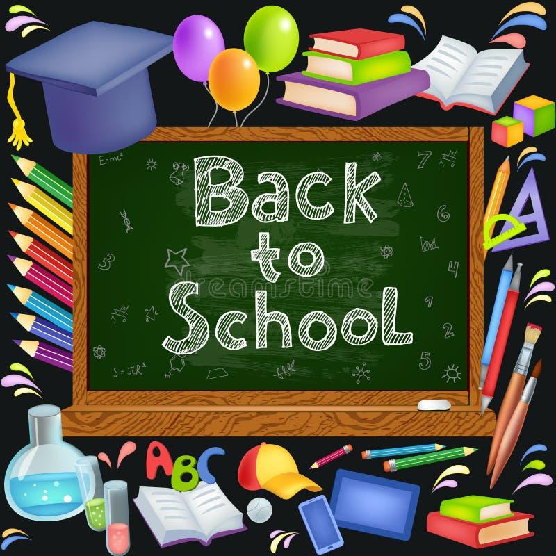 Terug naar de Achtergrond van de School (EPS+JPG) stock illustratie
