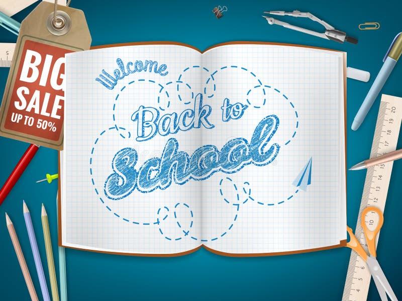 Terug naar de achtergrond van de Schoolverkoop Eps 10 royalty-vrije illustratie