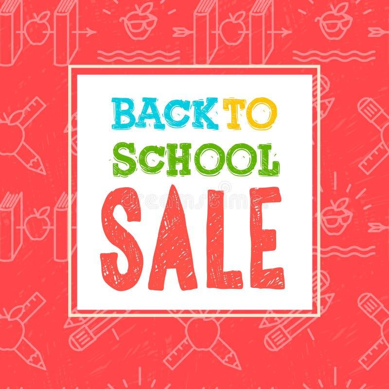 Terug naar de affiche en de banner van de schoolverkoop met kleurrijke titel en elementen op rode achtergrond voor kleinhandels m vector illustratie