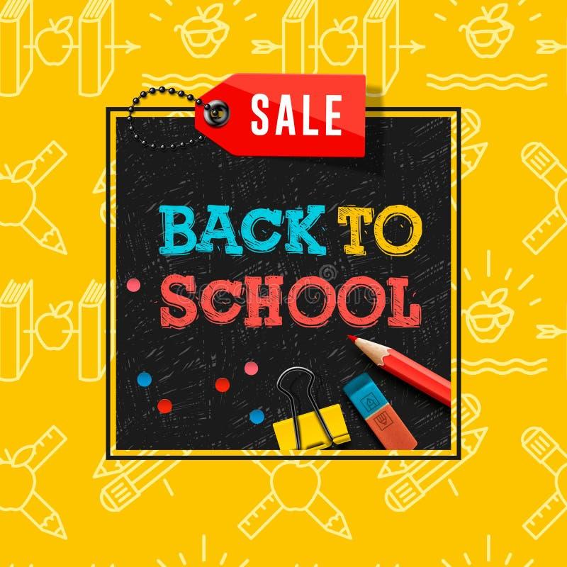 Terug naar de affiche en de banner van de schoolverkoop met kleurrijke titel en elementen op zwarte en gele achtergrond voor klei stock illustratie