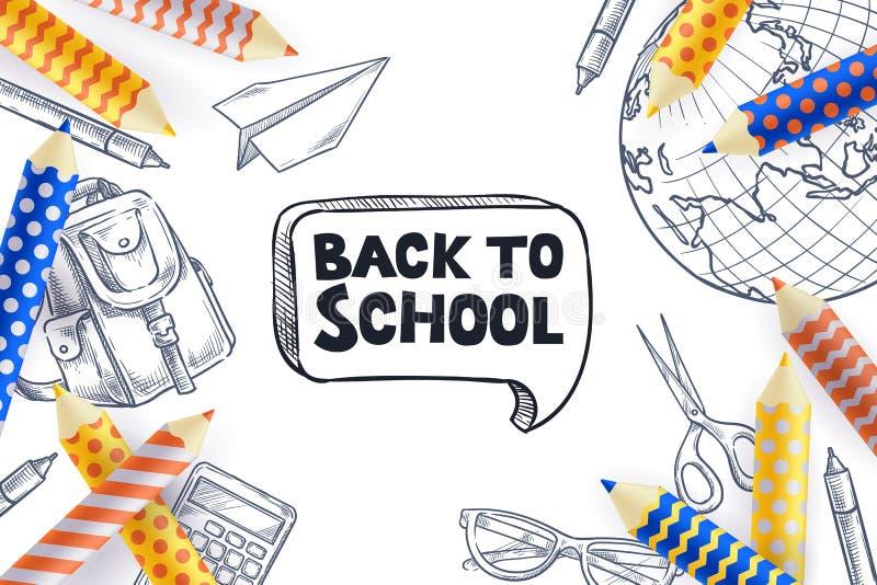 Terug naar de affiche van de schoolverkoop, bannerontwerpsjabloon Vectorillustratie van schoollevering Het creatieve Concept van  stock illustratie
