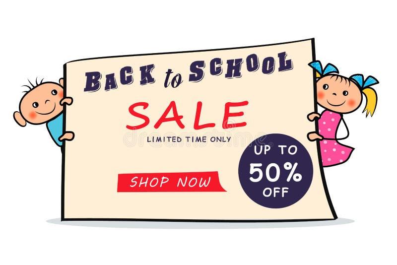 Terug naar de affiche van de schoolverkoop met de jongen en het meisjeskinderen van de beeldverhaalhand getrokken krabbel die op  royalty-vrije illustratie