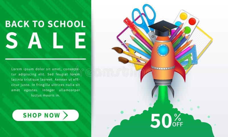 Terug naar de banner van de schoolverkoop, affiche, vlak ontwerp kleurrijk met kleurrijke realistische levering en raketlancering stock illustratie
