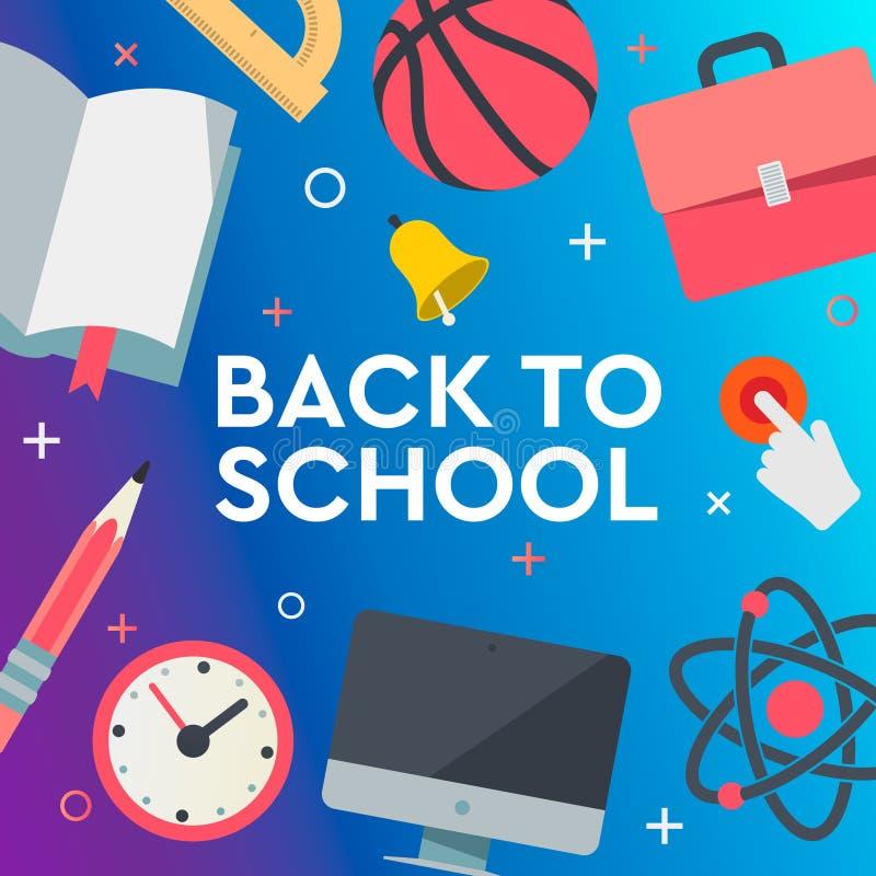 terug naar de banner van de schoolverkoop, affiche, vlakke ontwerp kleurrijke, vectorillustratie royalty-vrije illustratie