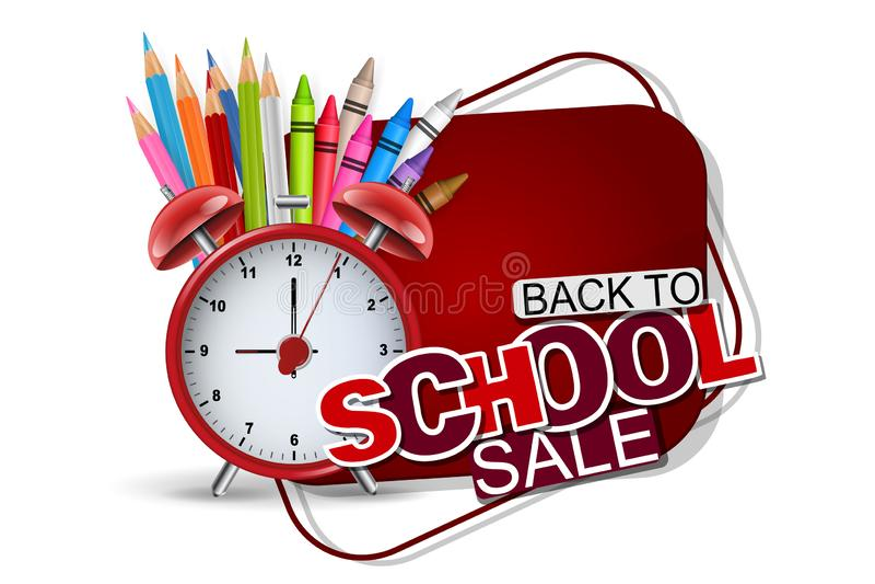 Terug naar de banner van de schoolverkoop in rode kleur met realistische levering voor studie - retro wekker, kleurende potloden, royalty-vrije illustratie