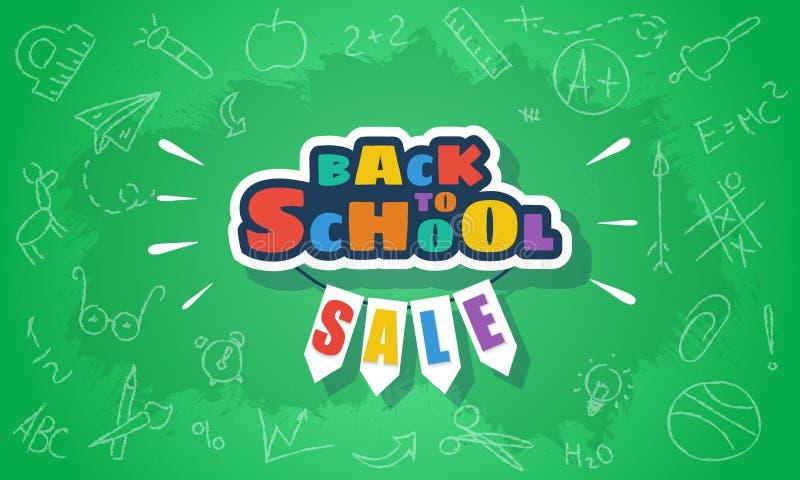 Terug naar de bannermalplaatje van de schoolverkoop voor Web en druk op groen royalty-vrije illustratie
